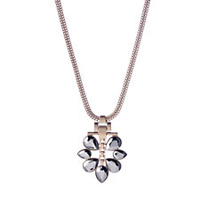 Pilgrim Statement Hematite Flower Pendant 39cm Necklace
