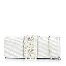 Frank Usher Satin & Faux Pearl Occasion Clutch Bag