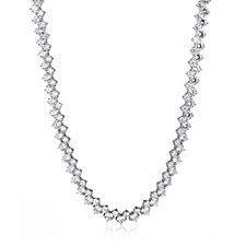Diamonique 63ct tw Double Row 40cm Collar Necklace Sterling Silver