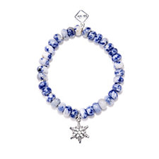 MeMe London Faceted Agate 8mm Bead Stretch Charm Bracelet