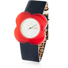 Orla Kiely Ladies Watch Large Poppy Leather Strap Watch
