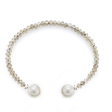 Honora 10-11mm Cultured Ringed Pearl & Gemstone Cuff Stainless Steel