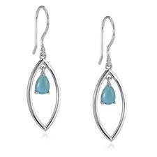 Sleeping Beauty Turquoise Teardrop Earrings Sterling Silver