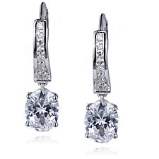 Diamonique 1.9ct tw Channel Set Leverback Earrings Sterling Silver