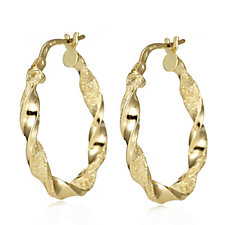 9ct Gold Textured Twist Hoop Earrings