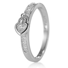 Diamonique 0.3ct tw Heart Charm Eternity Ring Sterling Silver