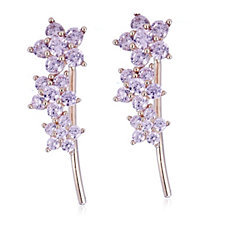Diamonique 0.7ct tw Flower Earclimbers Sterling Silver