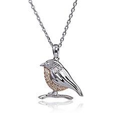 317807 - Diamonique 0.09ct tw Robin Pendant & 45cm Chain Sterling Silver