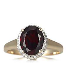 2.38ct Garnet & 0.13ct Diamond Halo Ring 9ct Gold