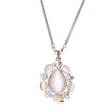 305908 - Frank Usher Rose Tone Pearlised Crystal 80cm Necklace