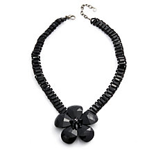 Butler & Wilson Glass Flower Pendant 41cm Necklace