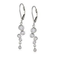 Diamonique by Andrea McLean 0.5ct Bezel Set Drop Earrings Sterling Silver