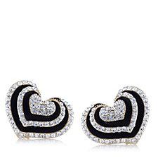 307508 - Frank Usher Layered Heart Crystal Clip On Earrings