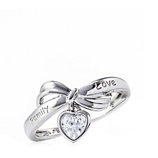 Diamonique 0.5ct tw Sentimental Heart Charm Ring Sterling Silver