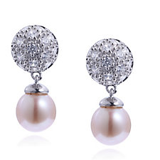 308408 - Diamonique 0.9ct tw Cultured Removable Pearl Drop Earrings Sterling Silver
