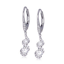 Diamonique 1.2ct tw Twisted Drop Earrings Sterling Silver