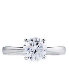 314408 - Diamonique 2ct tw Solitaire Platinum Plated Ring Sterling Silver