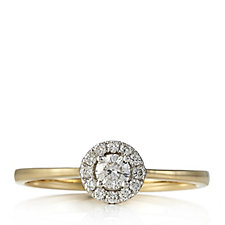 0.3ct Diamond Halo Design Ring 9ct Gold