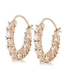 2.28ct Morganite Hoop Earrings Rose Gold Vermeil Sterling Silver