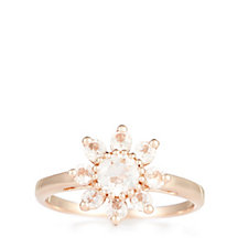 1ct Morganite Cluster Ring Sterling Silver Rose Gold Vermeil