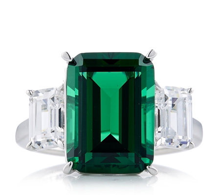 diamonique 10ct tw emerald cut trilogy ring sterling