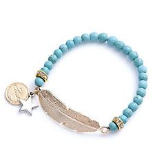 Bibi Bijoux Feather Bead Stretch Bracelet