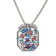 Princess Grace Collection Flower Brooch Pendant 45cm Necklace