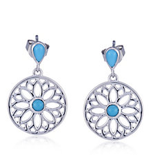 Sleeping Beauty Turquoise Floral Drop Earrings Sterling Silver