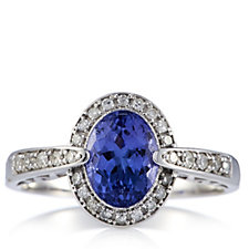 1.2ct AAA Tanzanite & 0.17 Diamond Oval Ring 18ct Gold