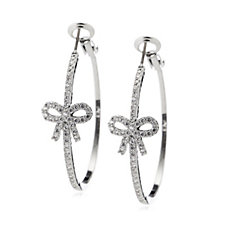 Frank Usher Crystal Bow Hoop Earrings