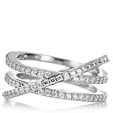 Diamonique 0.6ct tw Skinny 3 Band Ring Sterling Silver