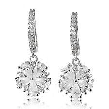 Diamonique 2.8ct tw Flower Charm Leverback Earrings Sterling Silver