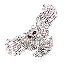 Butler & Wilson Open Wings Crystal Owl Brooch