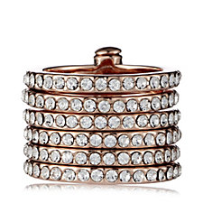 loveRocks 6 Band Pave Crystal Stack Ring