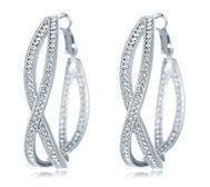Frank Usher Crystal Twist Hoop Earrings