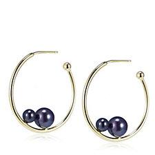 Honora 4-7mm Cultured Round Pearl Hoop Earrings Sterling Silver