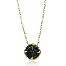 K by Kelly Hoppen Black Spinel Pendant & Chain 18ct Vermeil Sterling Silver