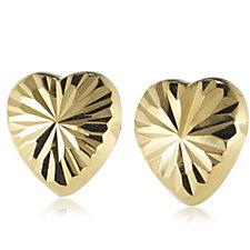 9ct Gold Diamond Fan Cut Heart Stud Earrings