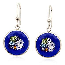 Murano Glass Millefiori Disc Drop Earrings Sterling Sterling