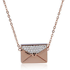 Diamonique 0.2ct tw Envelope & 45cm Necklace Sterling Silver