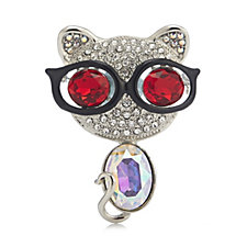 Butler & Wilson Crystal Cat with Sunglasses Brooch