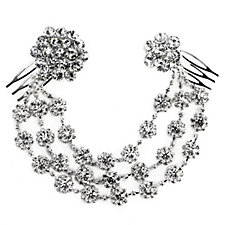 loveRocks Graduated Crystal Daisy Chain Hair Piece