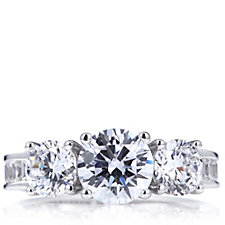 306311 - Michelle Mone for Diamonique 5.6ct tw Baguette & Round Cut Ring Sterling Silver