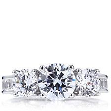 Michelle Mone for Diamonique 5.6ct tw Baguette & Round Cut Ring Sterling Silver