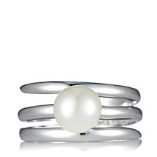 Honora 7-8mm Cultured Pearl 3 Row Ring Sterling Silver