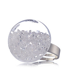 Frank Usher Glass Floating Crystal Dome Ring