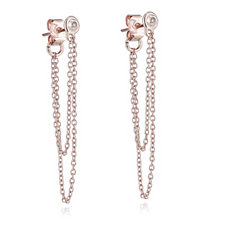 Lisa Snowdon Diamond Chain Drop Earrings Sterling Silver