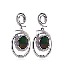 Canadian Ammolite Triplet Faceted Oval Drop Earrings Sterling Silver
