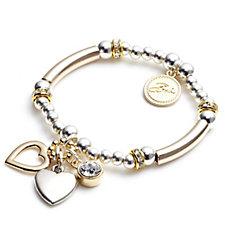Bibi Bijoux Gold and Silver Tone Heart Charm Bracelet