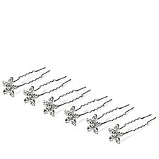 loveRocks Set of 6 Crystal Flower Hair Pins